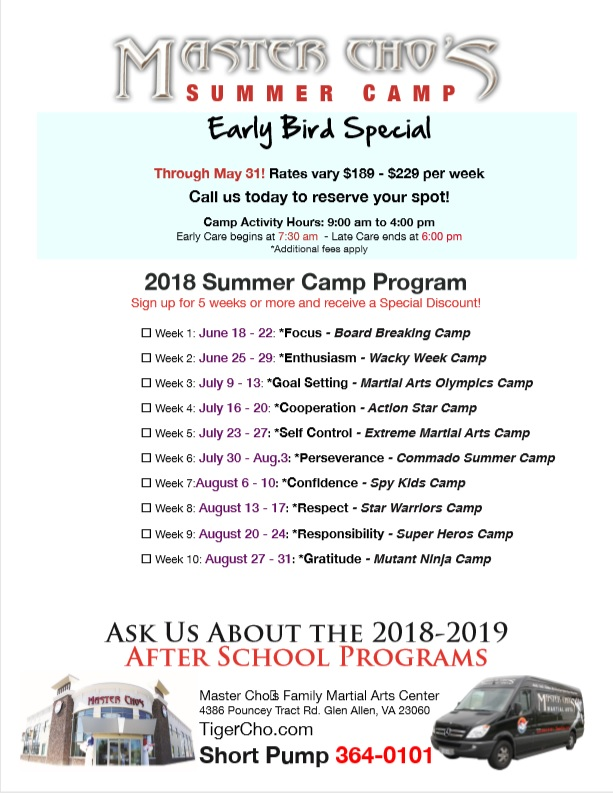 Picture - back of flyer for Master Cho's Martial Arts Summer Camp - serving Glen Allen and Richmond VA
